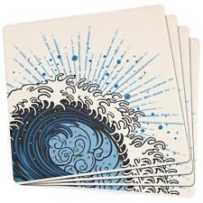 Summer Asian Wave Japanese Tsunami Set of 4 Square Sandstone Coasters