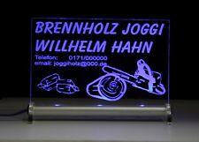 Brennholz LED Leuchtschild -Text nach Wunsch möglich Kaminholz Stamm- Scheitholz