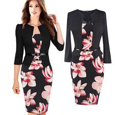 Damen Business Büro Langarm Kleid Schwarz Navy Blumen Kariert Floral S-XXL BC379
