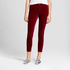 NWT Mossimo Hgh Rise Skinny Velvet Feel Burgundy Red Women Pants