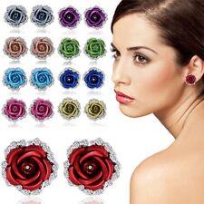 Rose Flower Crystal Rhinestone Ear Stud Pierced Earrings Woman Fashion Jewelry