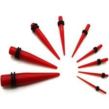 ROJO LA Juego Extensor DILATADOR Varilla TAPER Oído Plug Túnel Piercing 1,6 -10