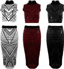 Ladies Ribbed Triangle Print Sleeveless Turtle Neck Top Midi Skirt Women's Set