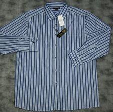 Andrew Fezza Indigo Blue Multi Stripe Long Sleeve Button Front Shirt MSRP$48.00