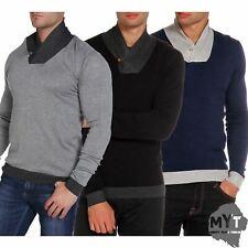 Kensington Mens Designer Jumper Shawl Neck Sweater Pullover Winter Knitwear M-XL