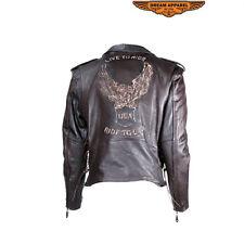 Motorcycle Jacket Embossed Eagle Men's Leather, Multi Pocket Chopper Biker Coat