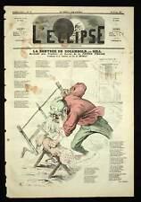 André Gill L'eclipse LE BUCHERON DE LA ROCAMBOLE Caricature de 1869
