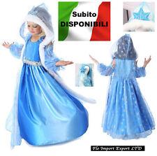 Frozen Vestito Carnevale Elsa Mantello Cappuccio Cosplay Elsa Costume 789010