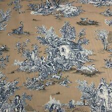 French Pastorale Toile De Jouy Linen Fabric in Blue on Tan | Double Width 280cm