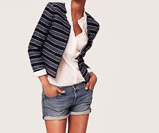 Ann Taylor LOFT Collarless Tweed Zip Jacket Size 10 Petite NWT Crisp Navy Color