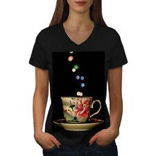 Tea Cup Retro Old Vintage Women V-Neck T-shirt NEW | Wellcoda