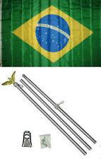 3x5 Brazil Brazilian Flag Aluminum Pole Kit Set 3'x5'