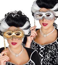 Gold & Encaje Veneciana Mascarada Máscara de plata sobre un palo de mano Fiesta Baile de graduación