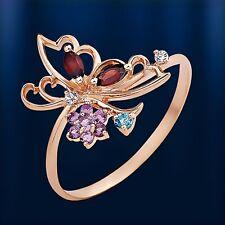 Russische Rose Gold 585 Goldring Ring mit Edelsteine. Schmetterling. Niedlich!!