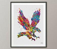 Eagle Watercolor Print Bird Canvas Print American Bald Eagle Wildlife Decor-1468