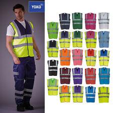 Yoko Hi-Vis Men's 2 Band Braces Waistcoat HVW100 - Safety Work Wear Jacket