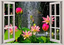 Nature Flowers Waterfall Tulips 3D Effect Window Wall View Sticker Mural Art 580