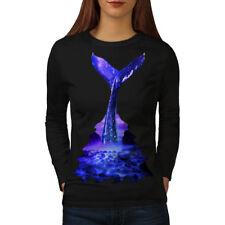 Blue Whale Diving Women Long Sleeve T-shirt NEW | Wellcoda