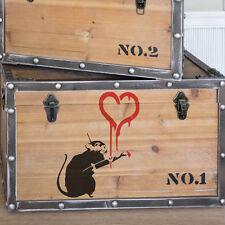 BANKSY Rat peinture Cœur pochoir Graffiti DÉCORE DE MAISON ARTISANAT ART