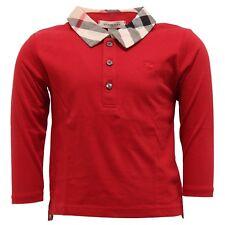 7539T polo bimbo BURBERRY cotone rosso maglia t-shirt polo kid
