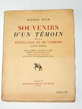 Mathieu Molé 1781-1855 Souvenirs 1791-1803 Ministre Président du Conseil 1836-37