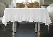 100% Egyptian Cotton Ruffle Rectangular 2 Piece Tablecloth Dinner Table Linen