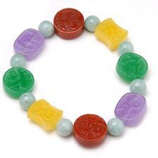 Multicolor Jade Good Luck Stretch Bracelet, Good Luck Multicolor Jade Bracelet