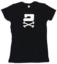 Sewing Machine Pirate Skull Cross Bones Logo Womens Tee Shirt