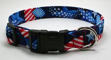 Patriotic Hearts Stars & Stripes Dog Collar Adjustable Handmade Custom Designer