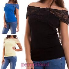 Maglia donna maglietta aderente elasticizzata scollo V pizzo sexy nuova CJ-2052