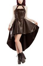 Robe dos nu marron steampunk avec ras de cou, chaines et sangles Phaze - Golden
