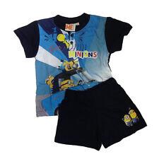 MINIONS pyjama courts t-shirt +short coton bleu différentes tailles de bébé