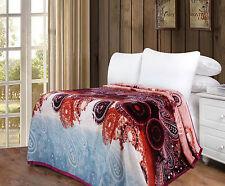 DaDa Bedding Bohemian Floral Paisley Red Soft Warm Flannel Fleece Throw Blanket