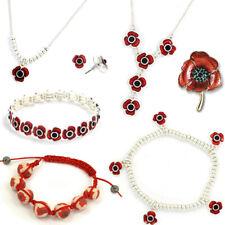 POPPY COSTUME JEWELLERY / Flower Accessory Brooch Bracelet Necklace Floral Gift