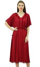 Bimba Women Designer Kaftan Dress With Pom Poms, Short Kimono Sleeve Long Maxi