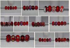 5 X mixto Rojo encanto perlas de Murano Murano Etc encaja pulsera Europea