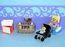 Series 16 Sealed Babysitter Baby Bottle- Stroller Crib Pram -MADE OF LEGO BRICKS