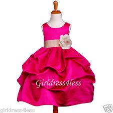 FUCHSIA/CHAMPAGNE WEDDING PICK UP FLOWER GIRL DRESS 6M 12M 18M 2 4 6 8 10 12