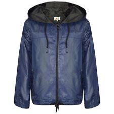Kids Girls Boys Navy Hooded Raincoats Cagoule Lightweight Jacket Rain Mac 5-13 Y