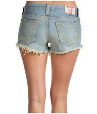 NEW $165 TRUE RELIGION JEANS Dana Cut-Off Shorts Frayed Hem Blue Denims Sz 29-31