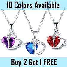 Fashion Women Heart Crystal Rhinestone 925 Silver Chain Pendant Necklace Blue
