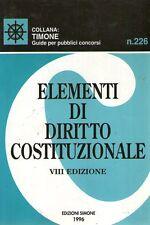 (DT) Elementi di diritto costituzionale Collana Timone  Ed. Simone 1996