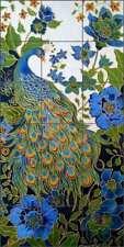 Peacock Tile Backsplash Micheline Hadjis Bird Art Ceramic Mural MHA039