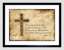 Salmo 121 sollevo i miei occhi Croce Religioso Cristiano preventivo ART PRINT b12x13827
