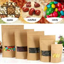 10Pcs Kraft Paper Bag Clear PVC Window Food Package Self Sealing Zipper Bags US