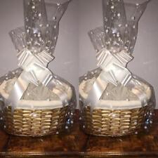 Set 2 small make your own hamper kit buff rectan/oval basket cellophane bow gift