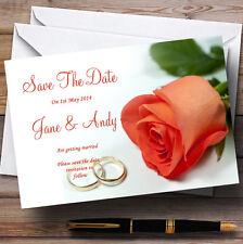 Orange corail pêche rose anneaux Personnalisé Mariage save the date cards