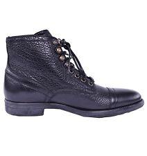 Dolce & GABBANA Lentini Bison Stivaletti Scarpe Stivali Nero Black 03834