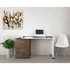 Nexera Essentials Home Writing Desk in White and Truffle