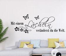Wandtattoo Wohnzimmer Schlafzimmer Spruch Lächeln Wandaufkleber Schmetterlinge